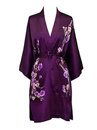 Old Shanghai Women's Silk Kimono Short Robe - Handpainted